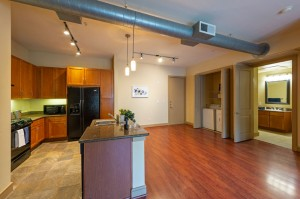 One Bedroom Apartments in Houston, Texas - Apartment Dining Room, Kitchen, Laundry Room with Bathroom View